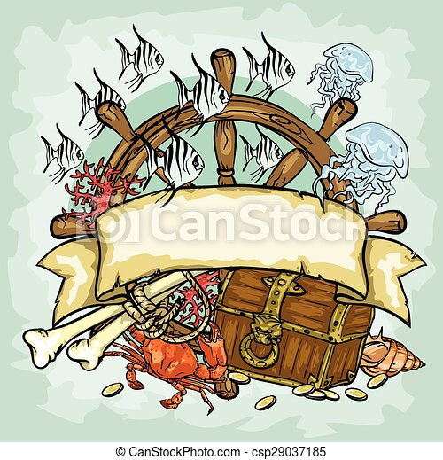 Pirate logo design, vector illustrations with space for text - csp29037185