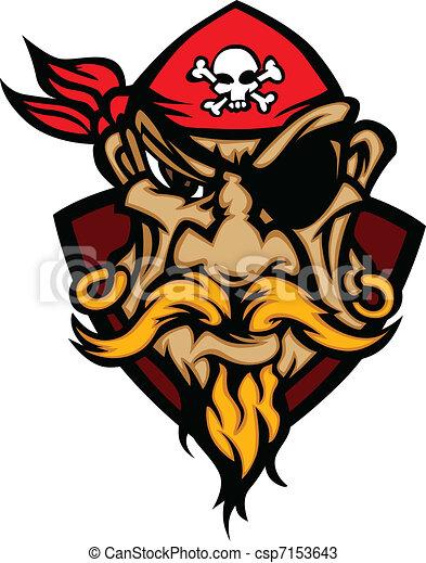 Pirate Mascot with Bandana Cartoon  - csp7153643
