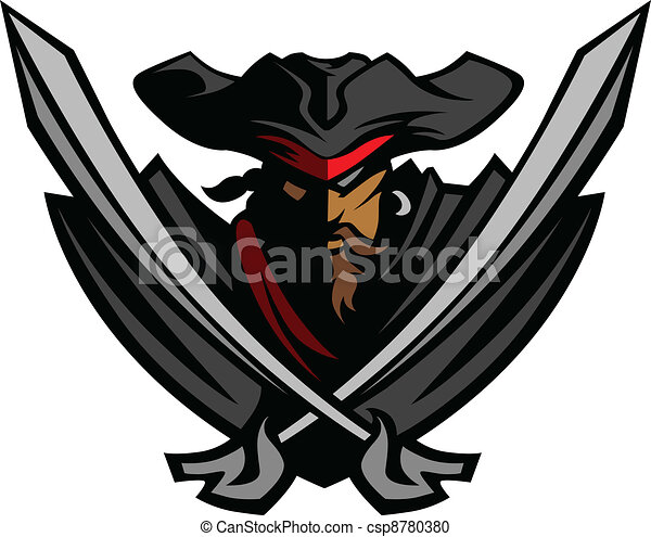 Pirate Mascot with Swords and Hat - csp8780380