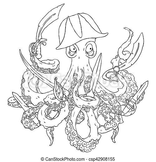 Pirate-octopus, blade., böser , dolch, arms., schwert, aggressiv ...
