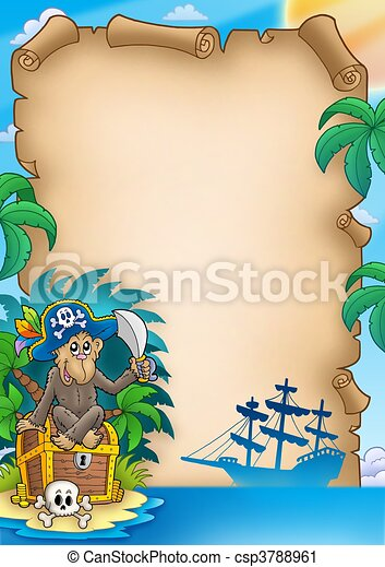 Pirate parchment with monkey - csp3788961