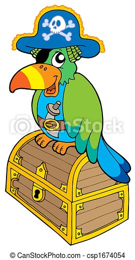 Pirate parrot sitting on chest - csp1674054