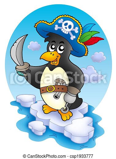 Pirate penguin on iceberg - csp1933777
