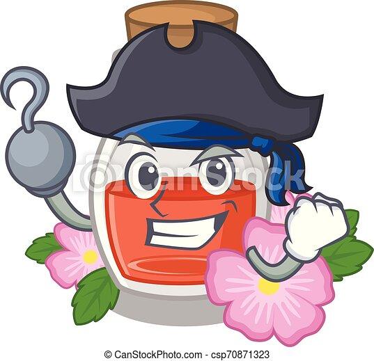 Pirate rosehip seed oil in cartoon bottle - csp70871323