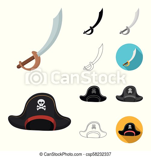 Pirate, sea robber cartoon, black, flat, monochrome, outline icons in set collection for design. Treasures, attributes vector symbol stock web illustration. - csp58232337