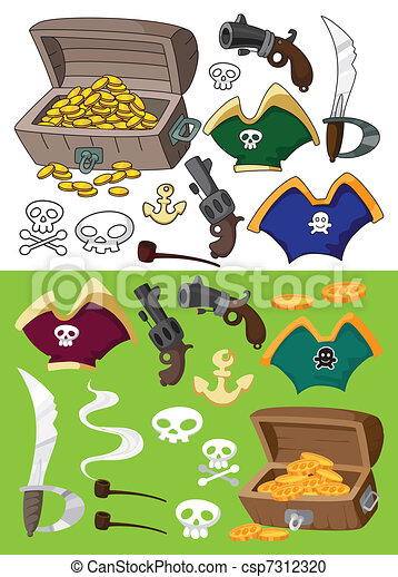 pirate set outlined - csp7312320