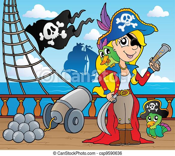 Pirate ship deck theme 9 - csp9590636