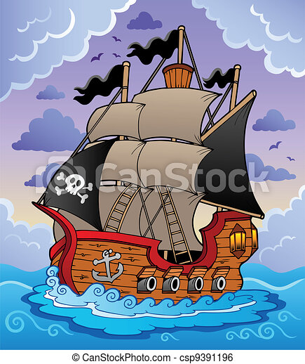 Pirate ship in stormy sea - csp9391196