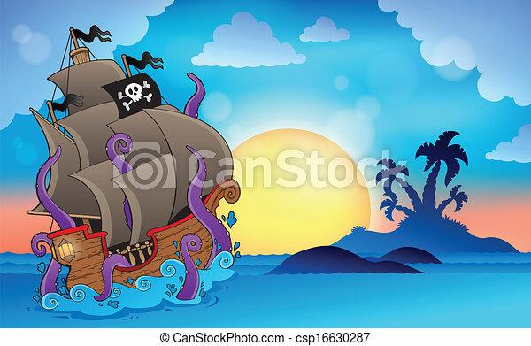 Pirate ship near small island 2 - csp16630287