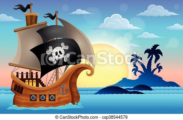 Pirate ship near small island - csp38544579