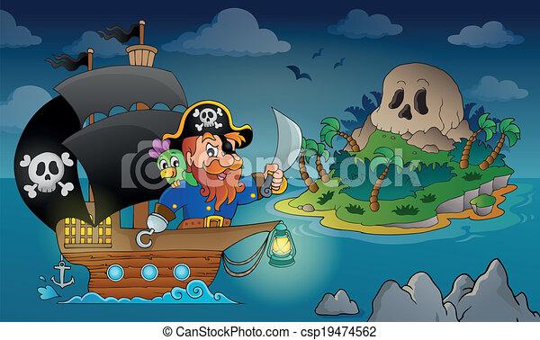 Pirate ship theme image 4 - csp19474562