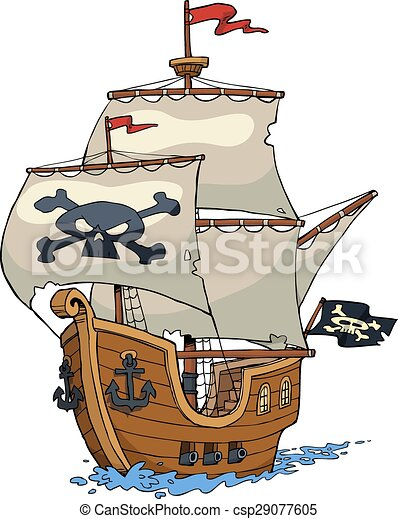 pirate ship on white background vector illustration rh canstockphoto com pirate ship vector drawing pirate ship vector drawing