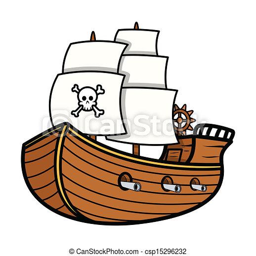 drawing art of cartoon pirate ship vector illustration rh canstockphoto com