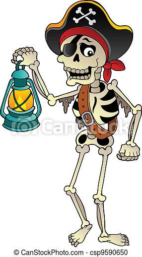 Pirate skeleton with lantern - csp9590650