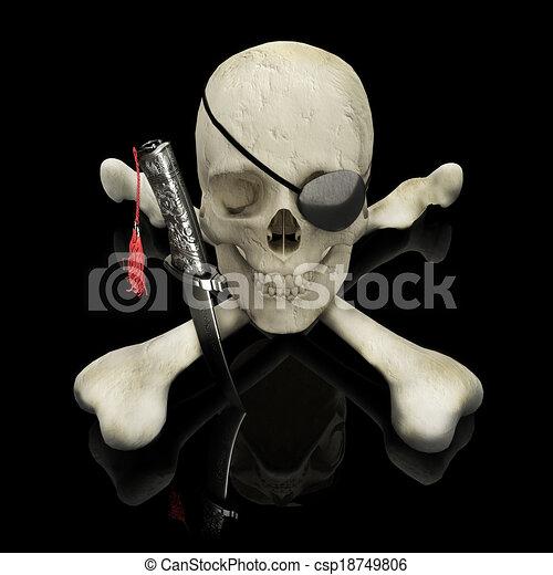 Pirate skull and crossbones. - csp18749806