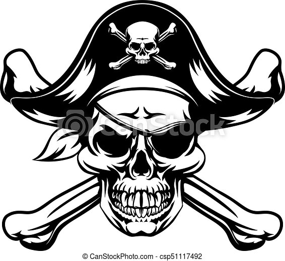 pirate skull and crossbones a skull and crossbones dressed as a rh canstockphoto com pirate skull and bones clipart Pirate Skull and Crossbones Stencil