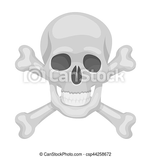Pirate skull and crossbones icon in cartoon style isolated on white background. Pirates symbol stock bitmap, rastr illustration. - csp44258672