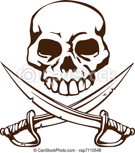 a pirate skull and crossed swords symbol vector search clip art rh canstockphoto com clipart skull and crossbones pirate clipart skull and crossbones pirate