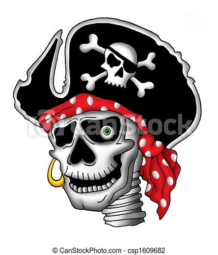 color illustration of pirate skull in hat clip art search rh canstockphoto com pirate skull and crossbones clip art free clipart skull and crossbones pirate