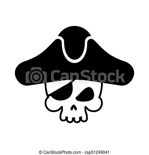 Pirate skull logo  head of skeleton and sabers  pirate symbol  Vector  illustration