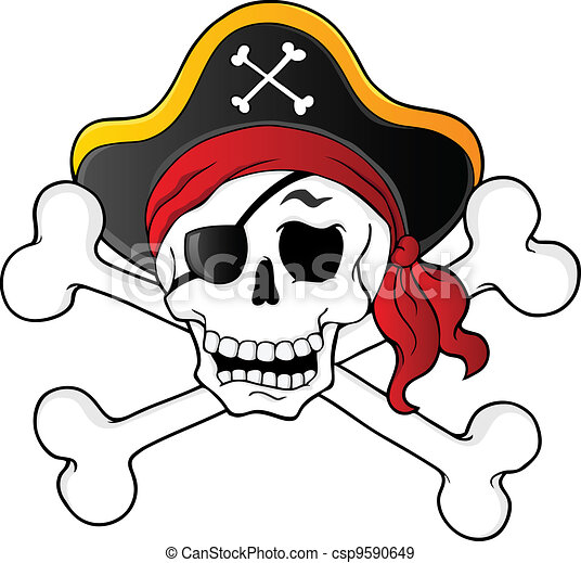 pirate skull theme 1 vector illustration rh canstockphoto com Pirate Head Clip Art pirate skull and crossbones clip art free