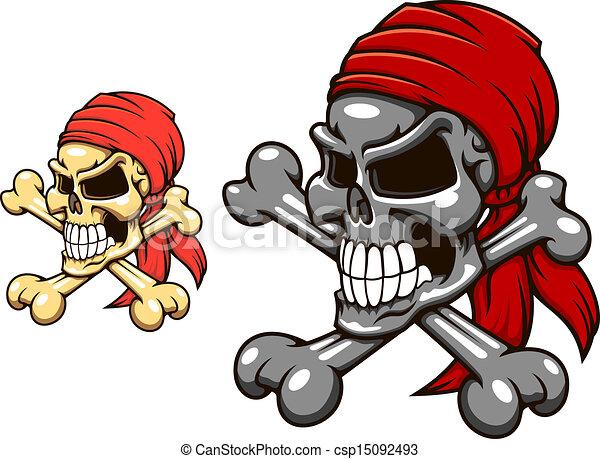 Pirate skull with crossbones - csp15092493