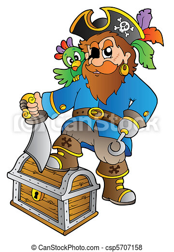 Pirate standing on treasure chest - csp5707158