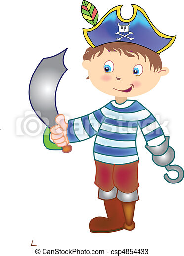pirate standing with sword - csp4854433