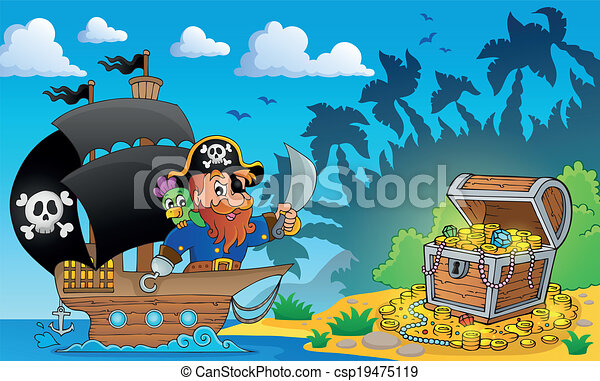 Pirate theme with treasure chest 2 - csp19475119