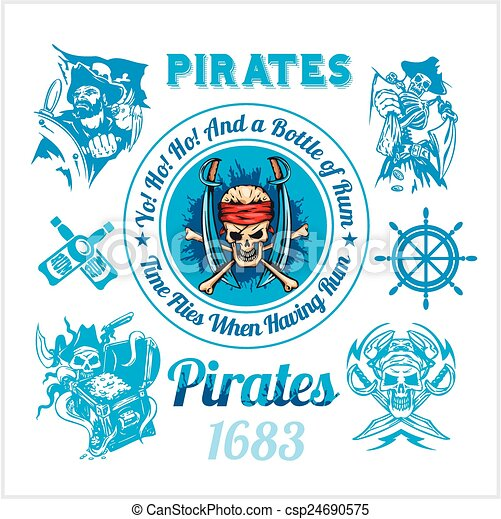 Pirate themed design elements - vector set.  - csp24690575