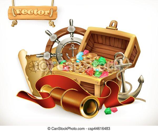 Pirate treasure. Adventure 3d vector illustration - csp44616483