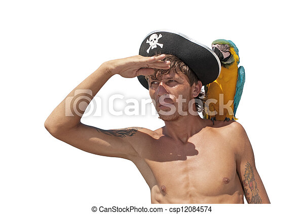 Pirate with a parrot  - csp12084574