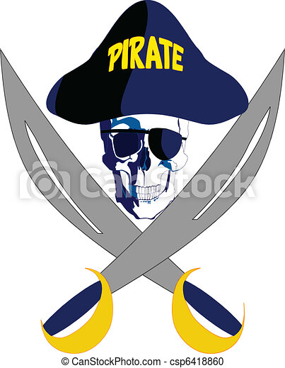 Pirate with glasses hat and swords - csp6418860