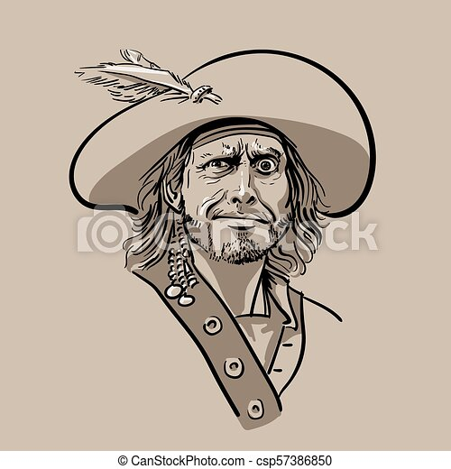 569ce37d01d Pirate with hat. Portrait. Digital Sketch Hand Drawing Vector. - csp57386850