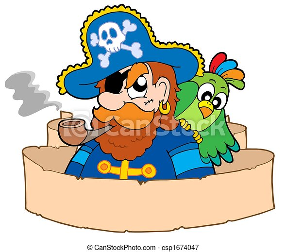 Pirate with parchment - csp1674047