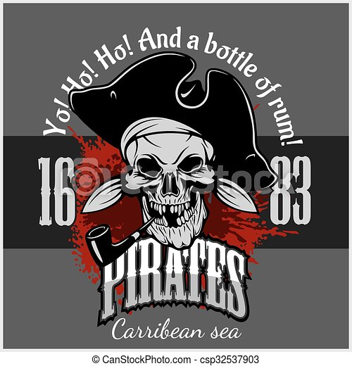 Pirate with pirate hat and pipe - csp32537903