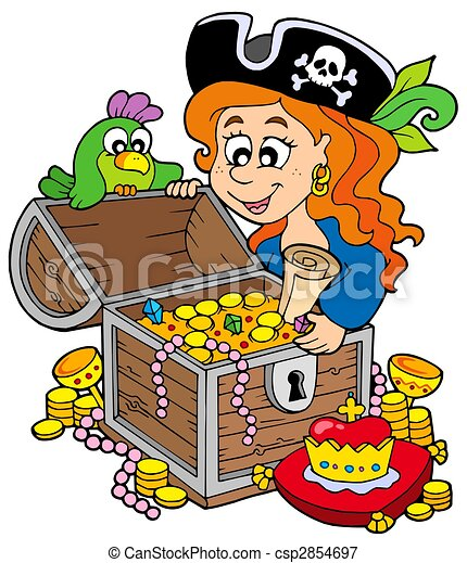 Pirate woman opening treasure chest - csp2854697
