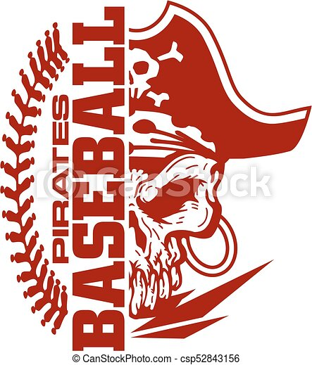 Pirates Baseball Team Design With Stitches And Half Mascot For