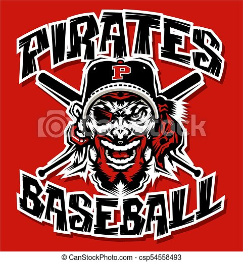 Pirates Baseball Team Design With Mascot And Crossed Bats For School