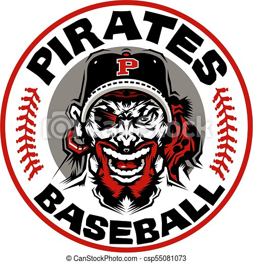 Pirates Baseball Team Design With Mascot Wearing Ball Cap In Circle