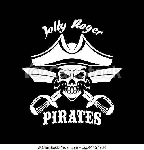 Pirates Black Vector Flag With Jolly Roger Symbol Jolly Roger