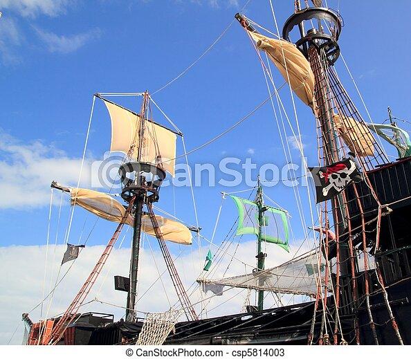 Pirates boats mast sailboat poles over blue sky - csp5814003