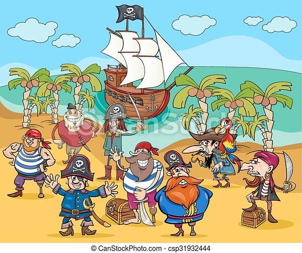 pirates on treasure island cartoon - csp31932444