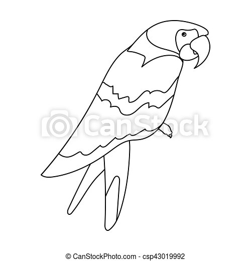 Pirate's parrot icon in outline style isolated on white background  Pirates  symbol stock vector illustration