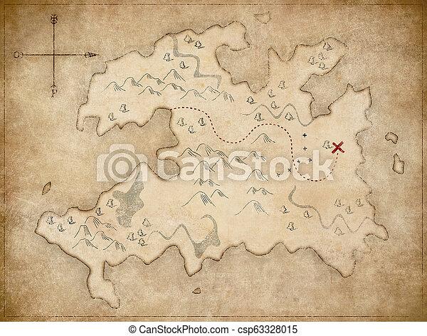 pirates', schat, oud, kaart - csp63328015