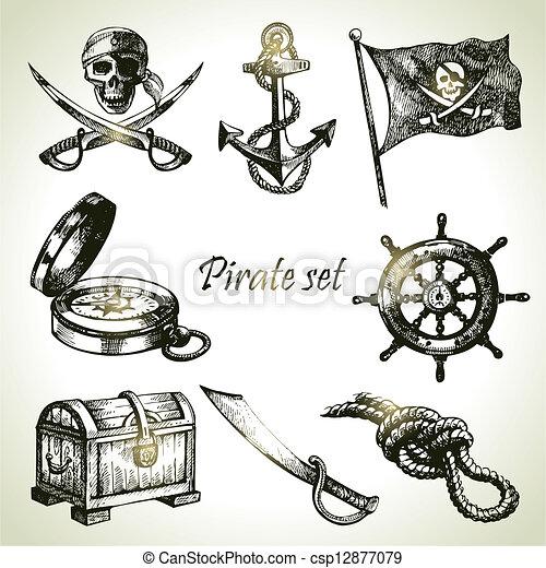 pirates, set., illustrations, main, dessiné - csp12877079