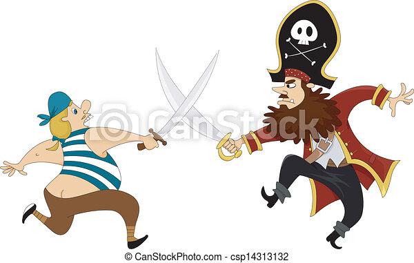 pirates swordfighting illustration of male pirates having a rh canstockphoto com Anime Pirate Male Human Male Pirate Art