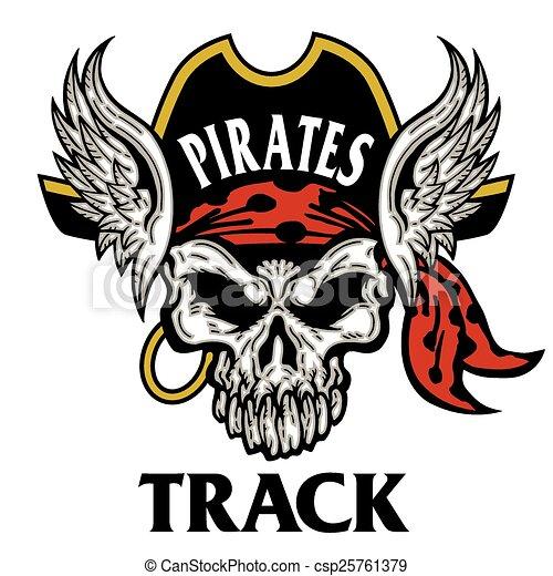 pirates track mascot skull - csp25761379