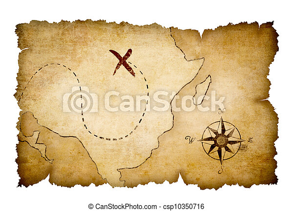Pirates treasure map with marked location - csp10350716