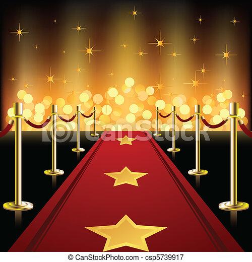 piros, csillaggal díszít, szőnyeg - csp5739917